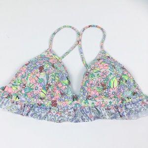 ✨3/$25 Victoria's Secret Floral Ruffle Bikini Top